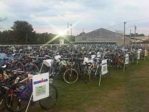 bikes racked in the Ironman Augusta 70.3 transistion area the night before
