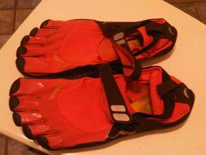 Orange Vibram Five Finger KSo Trek minimalist running shoes