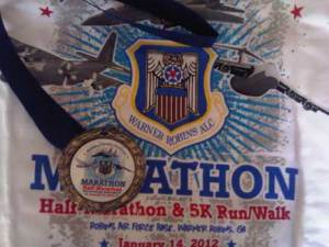 Museum of Aviation Half Marathon 2012 T Shirt and Medal